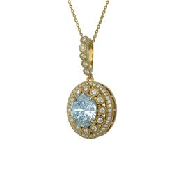 6.81 ctw Aquamarine & Diamond Victorian Necklace 14K Yellow Gold - REF-228G2W