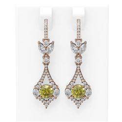 5.27 ctw Fancy Yellow Diamond Earrings 18K Rose Gold - REF-800G2W