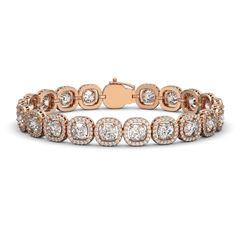 16.54 ctw Cushion Cut Diamond Micro Pave Bracelet 18K Rose Gold - REF-2296M2G
