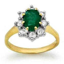 1.80 ctw Emerald & Diamond Ring 10k Yellow Gold - REF-76K4Y