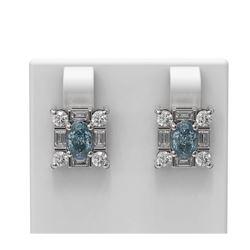 3.29 ctw Aquamarine & Diamond Earrings 18K White Gold - REF-178Y2X