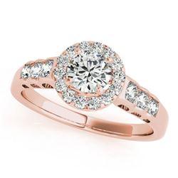 1.55 ctw Certified VS/SI Diamond Halo Ring 18k Rose Gold - REF-295N5F