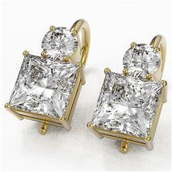 2.5 ctw Princess Cut Diamond Designer Earrings 18K Yellow Gold - REF-598Y5X