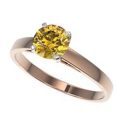 1.06 ctw Certified Intense Yellow Diamond Engagment 10k Rose Gold - REF-163X2A