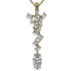 2.2 ctw Marquise Cut Diamond Designer Necklace 18K Yellow Gold - REF-429N5F