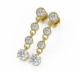 2 ctw Diamond Designer Earrings 18K Yellow Gold - REF-239A9N