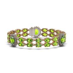29.69 ctw Peridot & Diamond Bracelet 14K Rose Gold - REF-242F3M