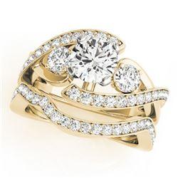 2.04 ctw Certified VS/SI Diamond Bypass 2pc Wedding Set 14k Yellow Gold - REF-336N3F