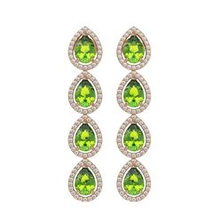 7.46 ctw Peridot & Diamond Micro Pave Halo Earrings 10k Rose Gold - REF-153R5K