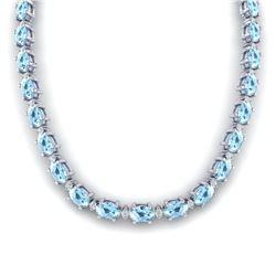 37.5 ctw Aquamarine & VS/SI Diamond Eternity Necklace 10k White Gold - REF-425G5W