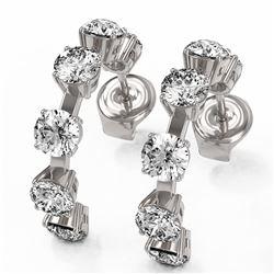 4 ctw Diamond Designer Earrings 18K White Gold - REF-425H3R