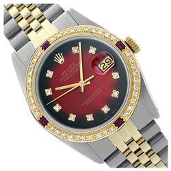 Rolex Ladies Two Tone 14K Gold/SS, Diam Dial & Diam/Ruby Bezel, Sapphire Crystal - REF-440K5T