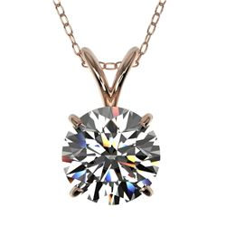 1.55 ctw Certified Quality Diamond Necklace 10k Rose Gold - REF-224W8H