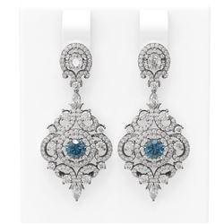 5.85 ctw Intense Blue Diamond Earrings 18K White Gold - REF-528F2M