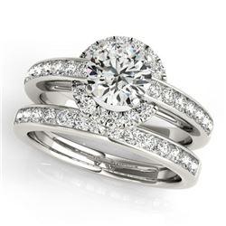 1.86 ctw Certified VS/SI Diamond 2pc Wedding Set Halo 14k White Gold - REF-312A3N
