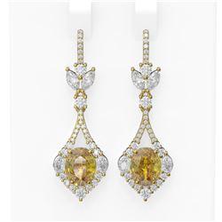 8.92 ctw Canary Citrine & Diamond Earrings 18K Yellow Gold - REF-490W9H