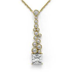 1.2 ctw Princess Cut Diamond Designer Necklace 18K Yellow Gold - REF-181K8Y