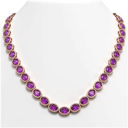 45.16 ctw Amethyst & Diamond Micro Pave Halo Necklace 10k Rose Gold - REF-663F6M