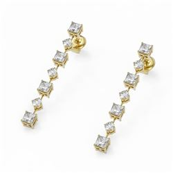 2.88 ctw Princess Cut Diamond Designer Earrings 18K Yellow Gold - REF-374K2Y