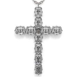 2.5 ctw Emerald Cut Diamond Cross Necklace 18K White Gold - REF-391W6H