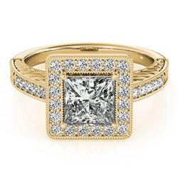 1.6 ctw Certified VS/SI Princess Diamond Halo Ring 18k Yellow Gold - REF-428X2A