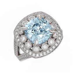 5.27 ctw Certified Aquamarine & Diamond Victorian Ring 14K White Gold - REF-165A3N