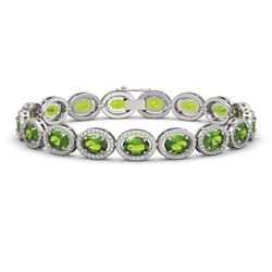 21.13 ctw Peridot & Diamond Micro Pave Halo Bracelet 10k White Gold - REF-290A9N