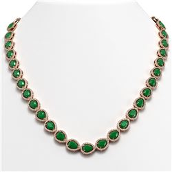 45.93 ctw Emerald & Diamond Micro Pave Halo Necklace 10k Rose Gold - REF-800Y2X