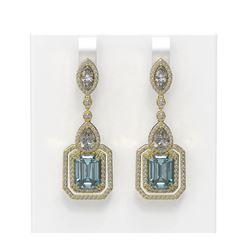 13.73 ctw Aquamarine & Diamond Earrings 18K Yellow Gold - REF-872K8Y