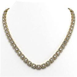 24.86 ctw Emerald Cut Diamond Micro Pave Necklace 18K Yellow Gold - REF-2918R3K