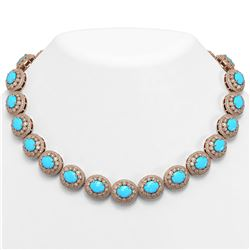 86.75 ctw Turquoise & Diamond Victorian Necklace 14K Rose Gold - REF-2583X6A