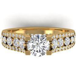 2.55 ctw Certified VS/SI Diamond Art Deco Micro Ring 14k Yellow Gold - REF-413W6H