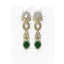 8.66 ctw Emerald & Diamond Earrings 18K Yellow Gold - REF-540A9N