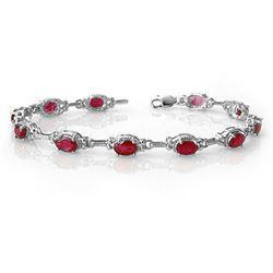 8.50 ctw Ruby Bracelet 14k White Gold - REF-81N8F