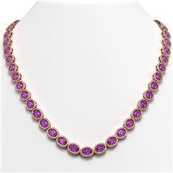 29.38 ctw Amethyst & Diamond Micro Pave Halo Necklace 10k Rose Gold - REF-600R2K