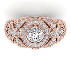 2.35 ctw Certified VS/SI Diamond Art Deco Ring 14k Rose Gold - REF-293H3R