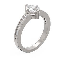 1.3 ctw Pear Diamond Ring 18K White Gold - REF-315W3H