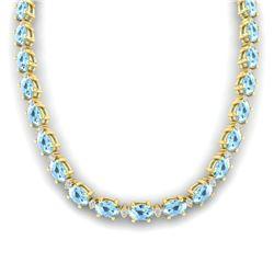 37.5 ctw Aquamarine & VS/SI Diamond Eternity Necklace 10k Yellow Gold - REF-425K5Y