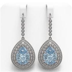 35.24 ctw Sky Topaz & Diamond Victorian Earrings 14K White Gold - REF-448R9K