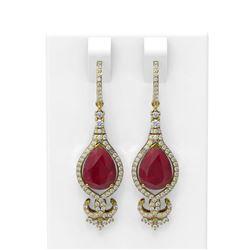 8.53 ctw Ruby & Diamond Earrings 18K Yellow Gold - REF-245Y5X