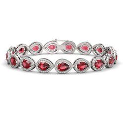 16.93 ctw Tourmaline & Diamond Micro Pave Halo Bracelet 10k White Gold - REF-472X8A