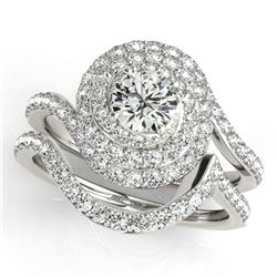 1.88 ctw Certified VS/SI Diamond 2pc Wedding Set Halo 14k White Gold - REF-180N8F