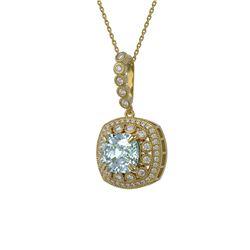 5.28 ctw Aquamarine & Diamond Victorian Necklace 14K Yellow Gold - REF-209R3K
