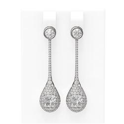 3.79 ctw Princess Diamond Earrings 18K White Gold - REF-811X5A
