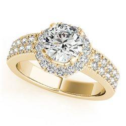 1.11 ctw Certified VS/SI Diamond Halo Ring 18k Yellow Gold - REF-169M2G