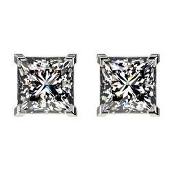 2 ctw Certified VS/SI Quality Princess Diamond Stud Earrings 10k White Gold - REF-478F6M