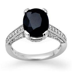 3.75 ctw Blue Sapphire & Diamond Ring 10k White Gold - REF-81W8H