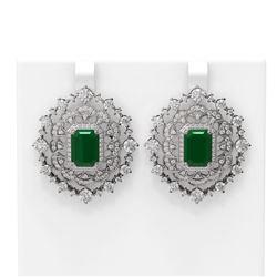 18.43 ctw Emerald & Diamond Earrings 18K White Gold - REF-890G9W