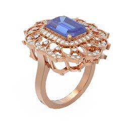 5.5 ctw Tanzanite & Diamond Ring 18K Rose Gold - REF-325M5G