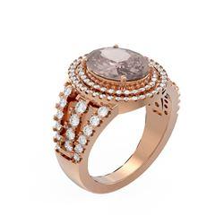 5.14 ctw Morganite & Diamond Ring 18K Rose Gold - REF-340X2A